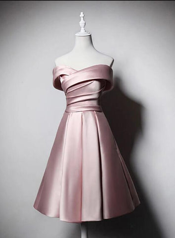 pink satin homecomig dress
