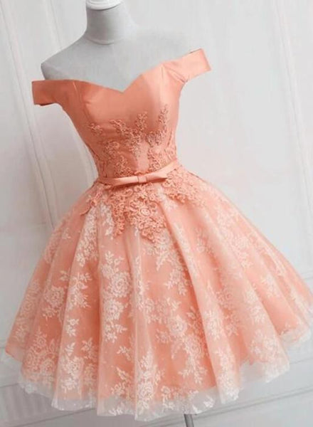 Lovely Short Lace Floral Knee Lenght Off Shoulder Party Dress, Cute Short Prom Dress