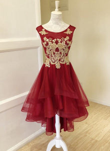 wine red high low dress
