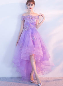 Cute High Low Lavender Tulle Party Dress, Off the Shoulder Homecoming Dress