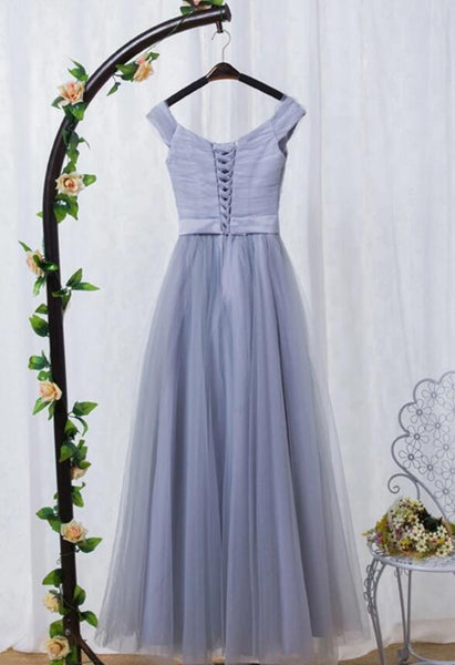 Beautiful Grey Off the Shoulder Tulle Long Party Dress, Grey Bridesmaid Dress 2020