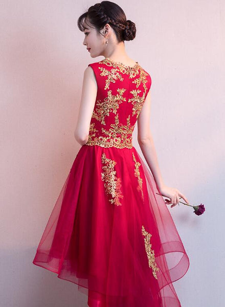 Adorable Wine Red High Low Homecoming Dress with Gold Applique, Cute Party Dress