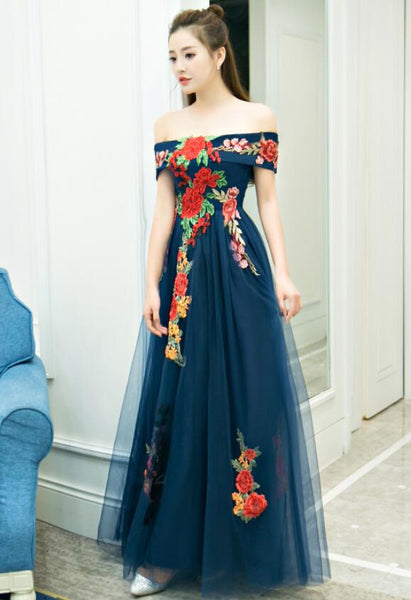Elegant Off the Shoulder Tulle Long Party Dress, A-line Flowers Prom Dresses