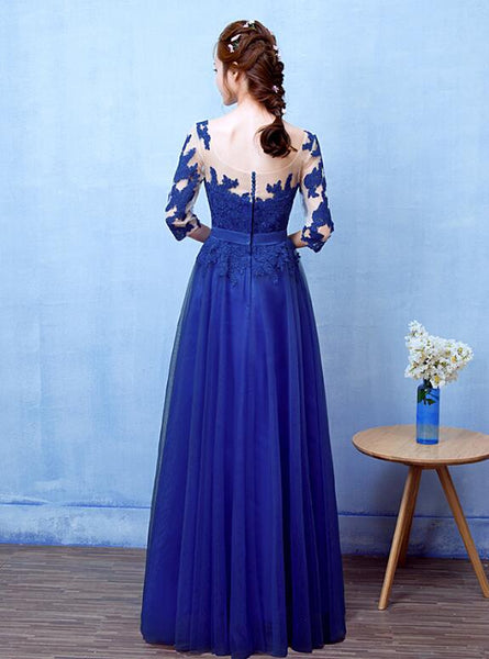 Beautiful Blue 1/2 Sleeves Tulle Long Prom Dress, Blue bridesmaid Dress