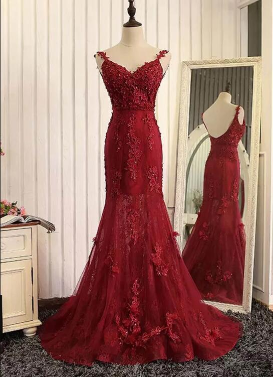 dark red mermaid evening dress