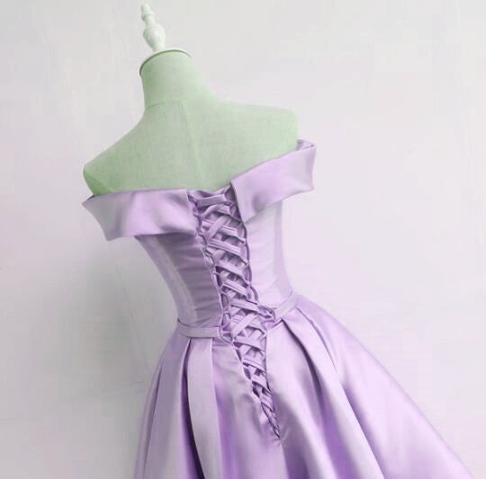 Lovely Purple Satin Short Prom Dress, Cute Homecoming Dress