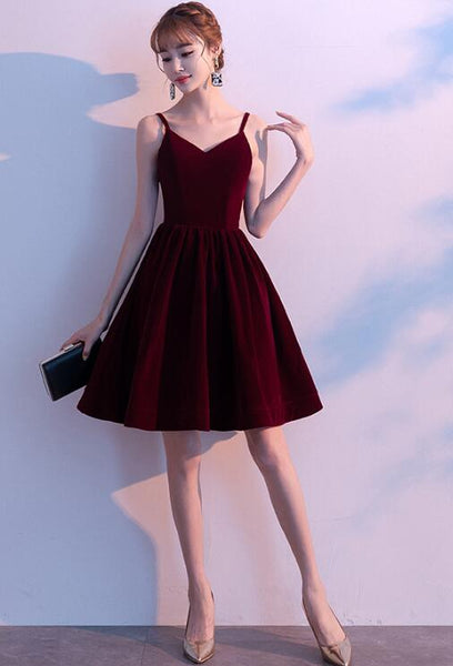 Lovely Straps Short Homecoming Dress, Burgundy Velvet Party Dress