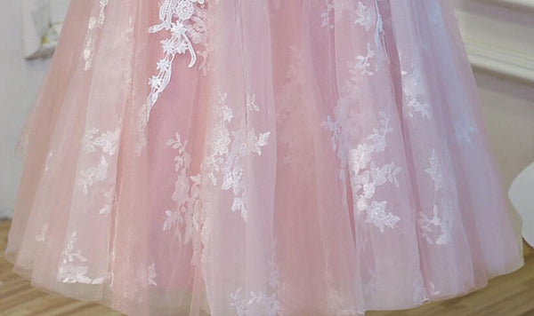 Cute Pink Lace Knee Length Party Dress, Round Neckline Short Prom Dress