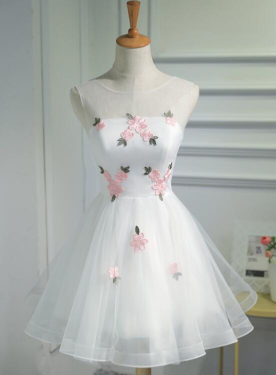 Lovely White Short Party Dress with Flowers, Cute Graduation Dress