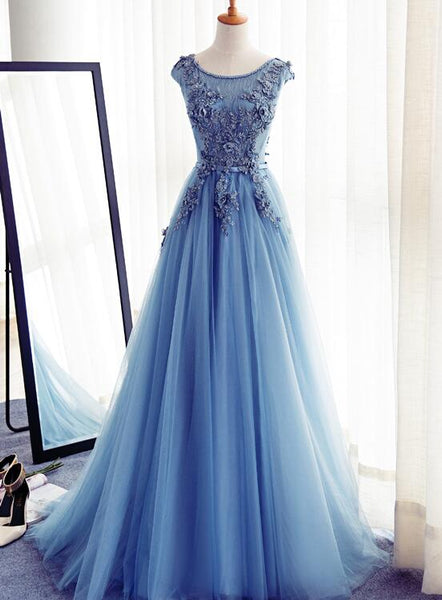 blue long formal gown