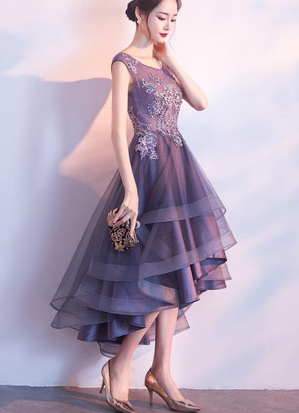 Beautiful High Low Party Dress with Beaded, Fashionable Party Dress