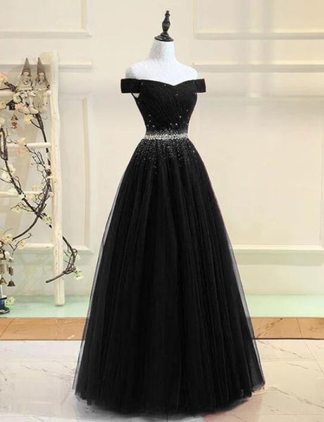 Beautiful Black Off the Shouldere Tulle Beaded Prom Dress, Black New Prom Dress