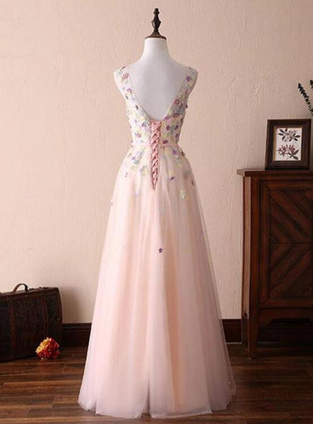 Charming Light Pink Prom Dresses, A Line Round Nec Pink Evening Dresses with Flower