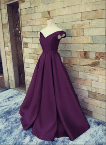 Charming Satin Off the Shoulder A-line Long Party Dress, Handmade Formal Gown
