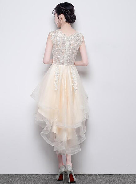 Lovely Champagne High Low Tulle and Lace Party Dress, Round Neckline Prom Dress