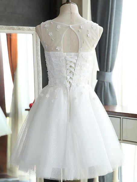 Cute White Short Tulle with Flowers Graduation Dress, Short Wedding Party Dress