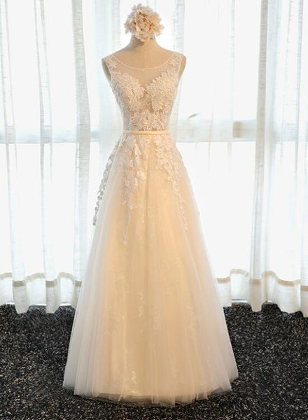 Elegant Long Tulle Party Dress with Lace Applique, Cute Party Dress 2020