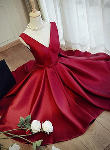 Charming Satin Short Homecoming Dress, Wine Red V-neckline Party Dress