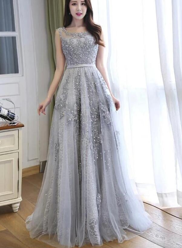 Simple Pretty Grey Lace A-line Long Prom Dress, Grey Party Dress 2020