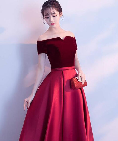 Beautiful Wine Red Velvet and Satin A-line Party Dress, Off Shoulder Formal Dress