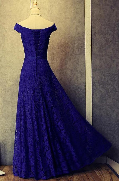Simple Pretty Royal Blue Floor Length Off Shoulder Prom Dresses, Lace Bridesmaid Dress