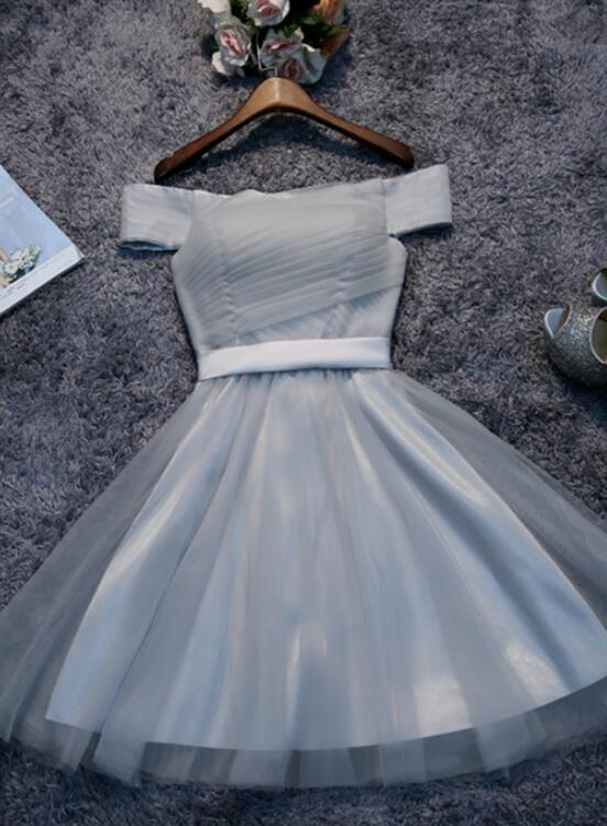 Cute Off Shoulder Grey Tulle Homecoming Dresses, Short Bridesmaid Dress