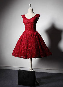 Beautiful Dark Red Lace V-neckline Bridesmaid Dress, Short Party Dress