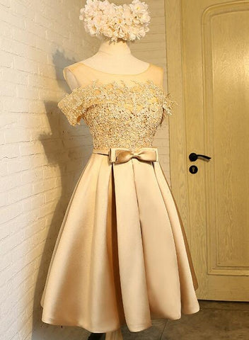 Gold knee length party dress