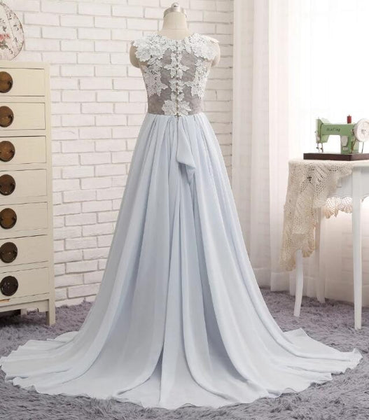 Beautiful Light Grey-Blue Chiffon Wedding Party Dress, Long Formal Dress