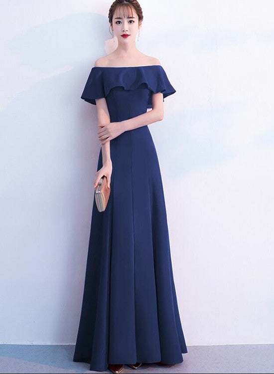 Elegant A-line Floor Length Off Shoulder Bridesmaid Dress, Beautiful Long Prom Dress