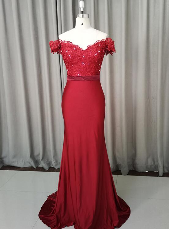 wine red mermaid prom dress