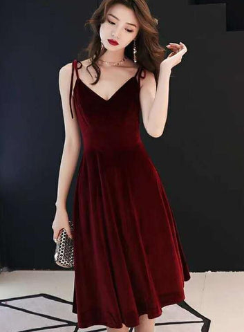 wine red velvet party dress
