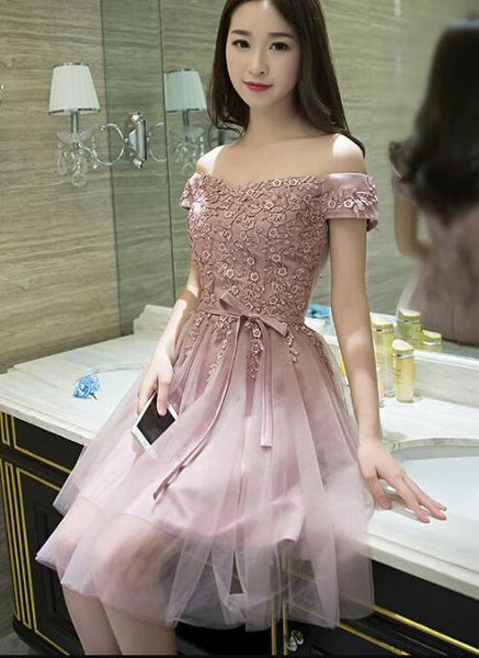 Lovely Pink Short with Lace Applique Party Dress, Pink Formal Dress