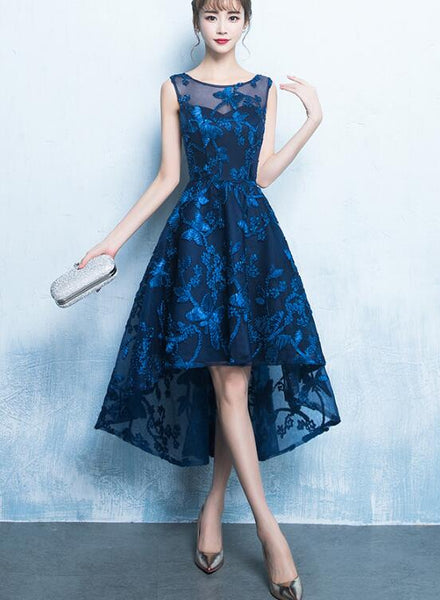 Fashionable High Low Blue Party Dress, Bridesmaid Dress 2020