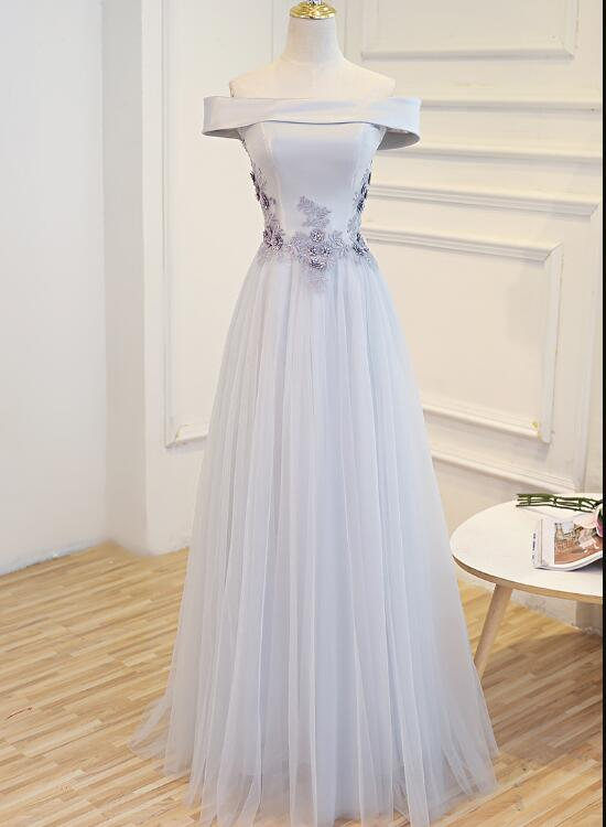 Beautiful Sliver Tulle Off Shoulder Long Party Dress, A-line Evening Gown