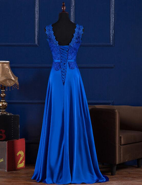 Elegant Blue Satin A-line Long Prom Dress 2020, Bridesmaid Dress for Sale