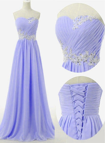 Beautiful Light Purple Chiffon New Prom Dress 2020, Long Sweetheart Party Dress