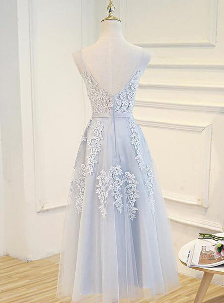 Simple Pretty Light Grey Tea Length Prom Dress, Tea Length Bridesmaid Dress