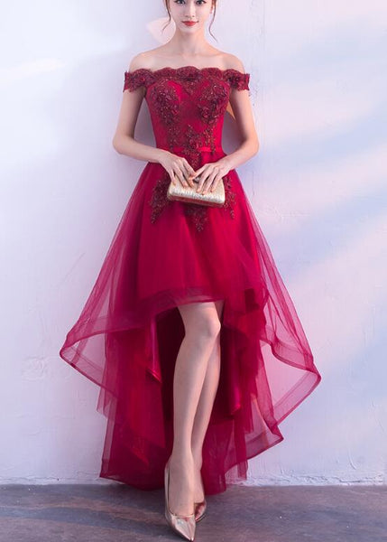 wine red off shoulder prom dress 2020