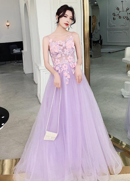 Beautiful Tulle Lavender Straps Prom Dress, A-line Evening Dress 2020