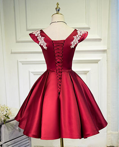 Beautiful Dark Red Satin Short Prom Dress 2020, Red Homecoming Dress