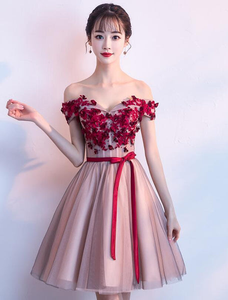 Lovely Pink Sweetheart Tulle Knee Length Party Dress, Junior Prom Dress 2020