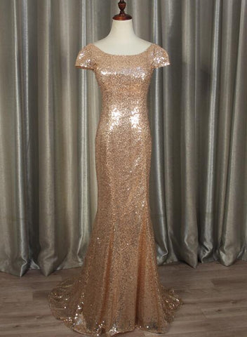 Charming Sequins Cap Sleeves Mermaid Bridesmaid Dress, Charming Party Dress