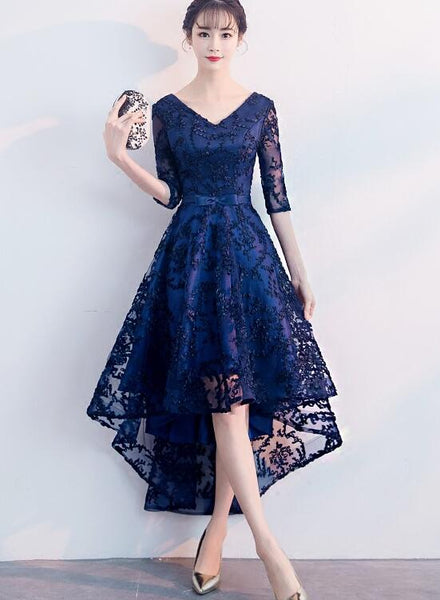 navy blue high low party dress
