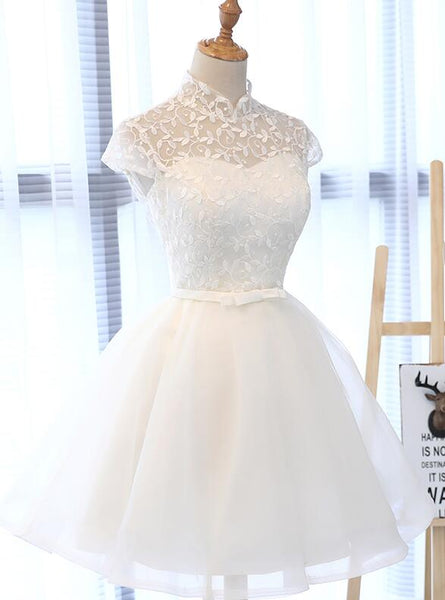 White Tulle Short Party Dress, Lace and Tulle White Homecoming Dress