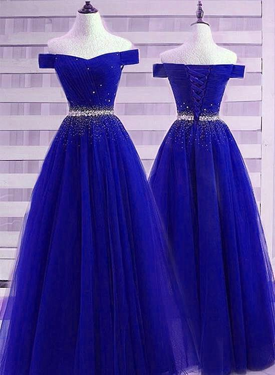 Sparkle Royal Blue Beaded Tulle A-line Long Evening Dress, Junior Prom Dress