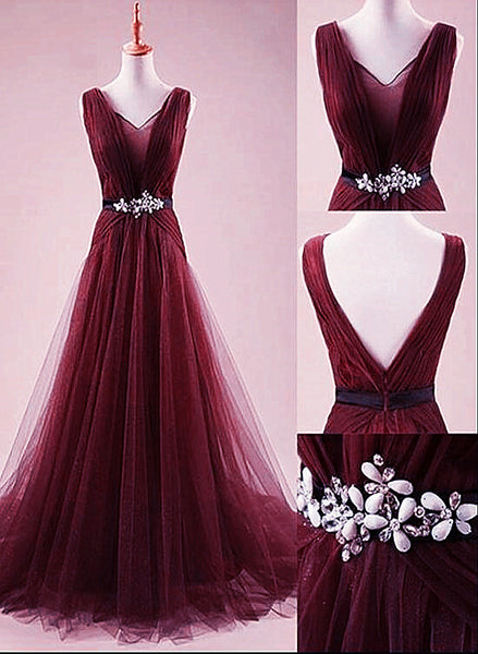Charming Wine Red Tulle Prom Dress 2020, Long Party Dress