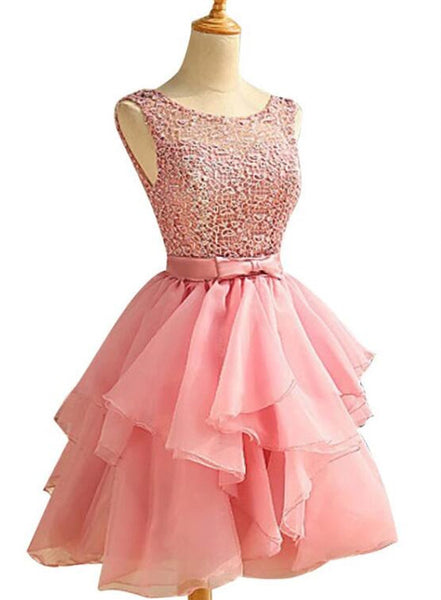 Charming Organza Pink Lace Short Party Dress, Round Neckline Prom Dress