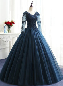 navy blue long sweet 16 dresses