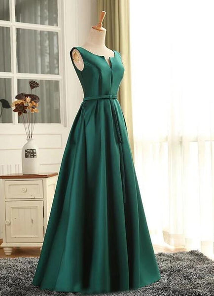 Beautiful Green Long Prom Dress 2020, A-line Green Bridesmaid Dress